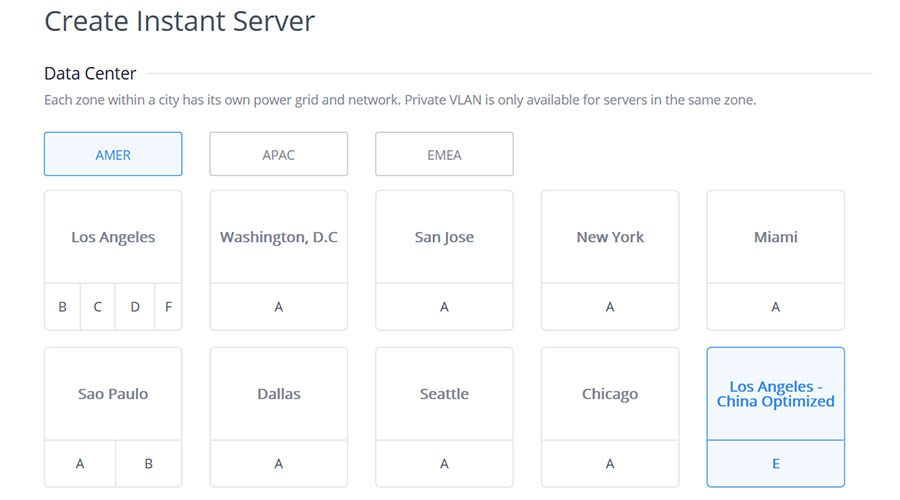 Screenshot showing Los Angeles Bare Metal Servers optimized for connections with China available for rent.