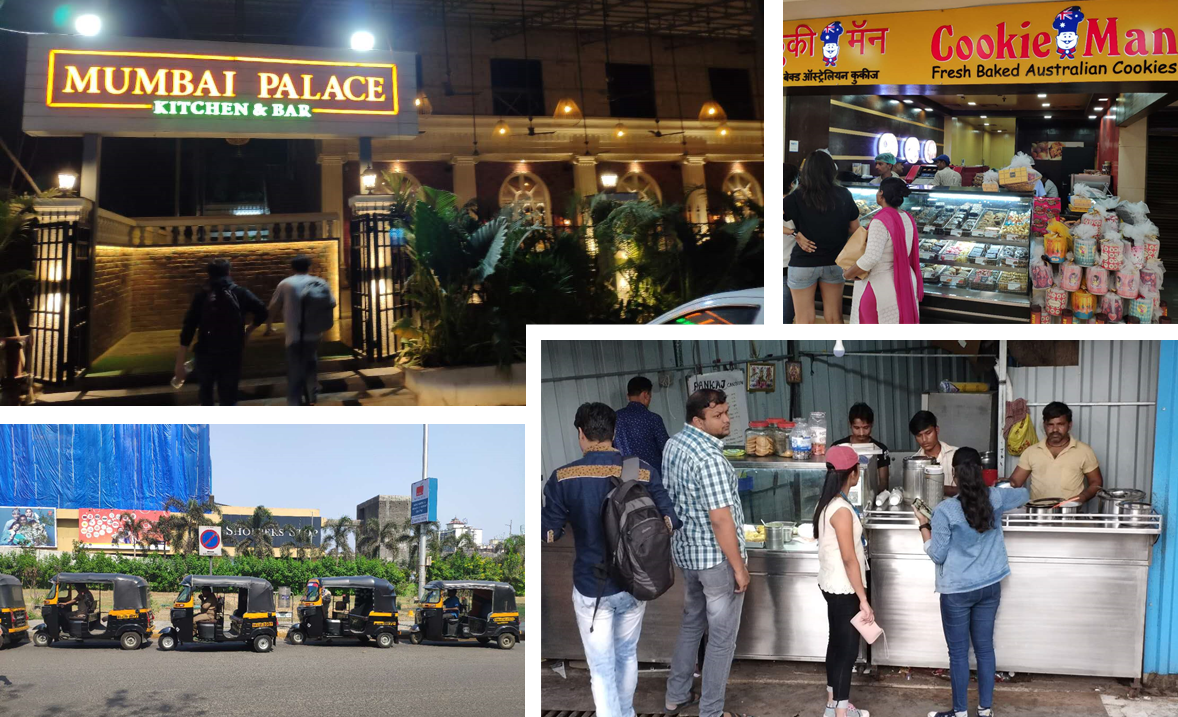 A collage of the sights in Mumbai, mostly places to eat.